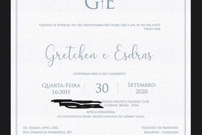 Gretchen distribui convites de casamento virtualmente