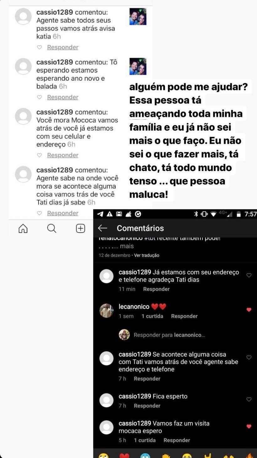 Comentários que ameaçam Tati Dias