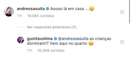 Comentário de Gusttavo Lima para Andressa Suita
