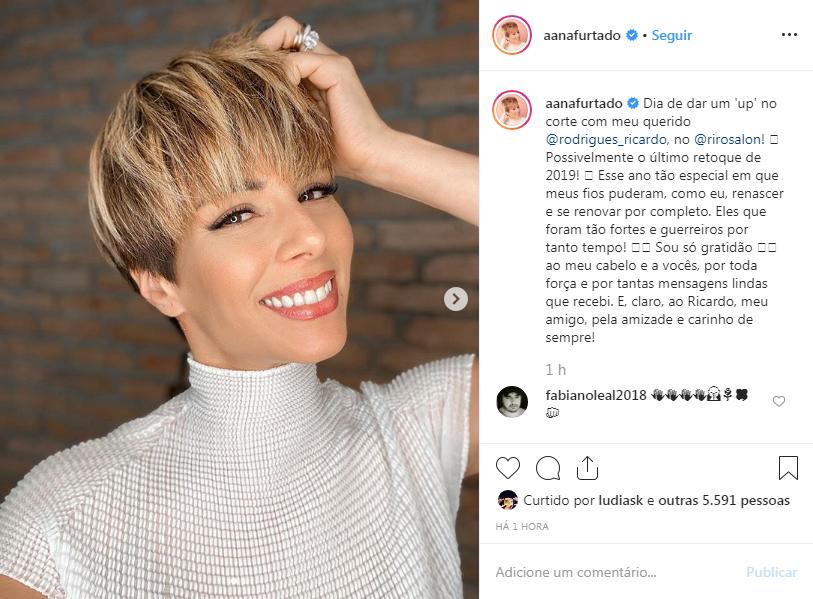 Ana Furtado impressiona seguidores com o visual