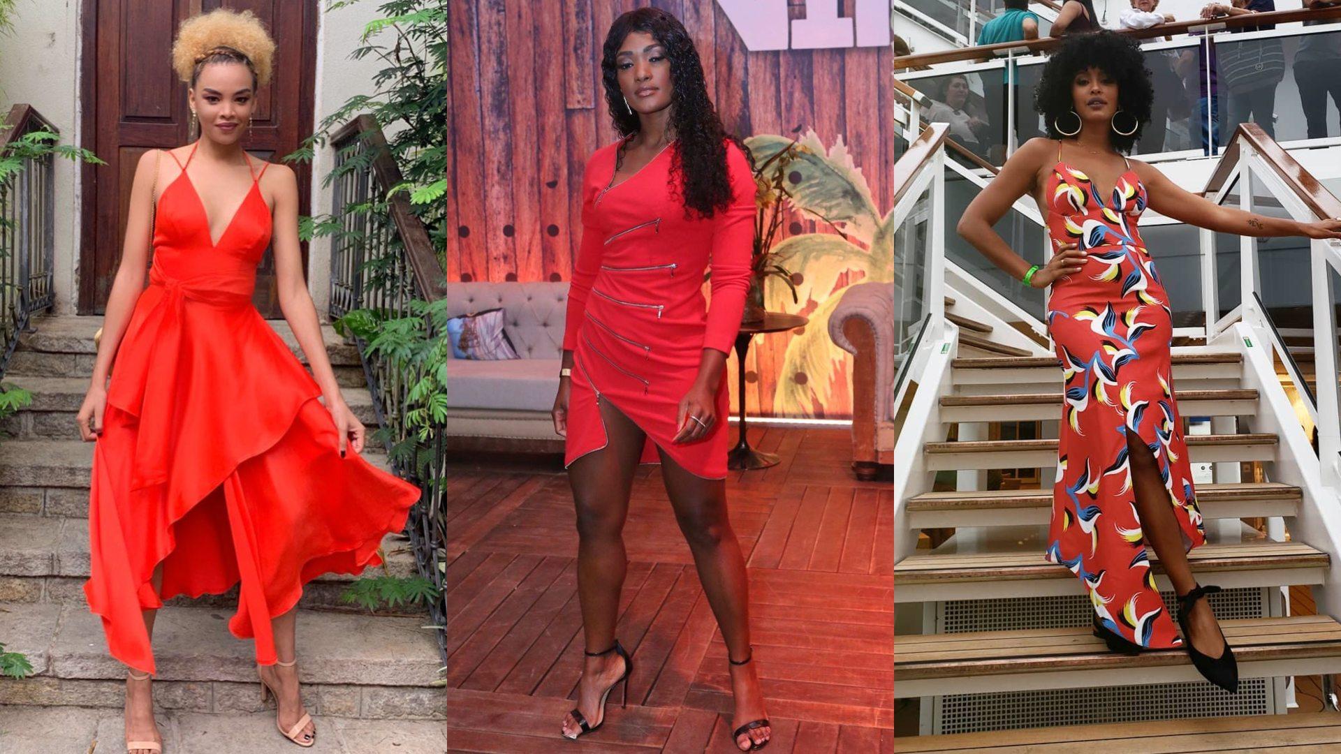 Lucy Ramos, Erika Janusa e Sheron Menezzes em vestidos vermelhos