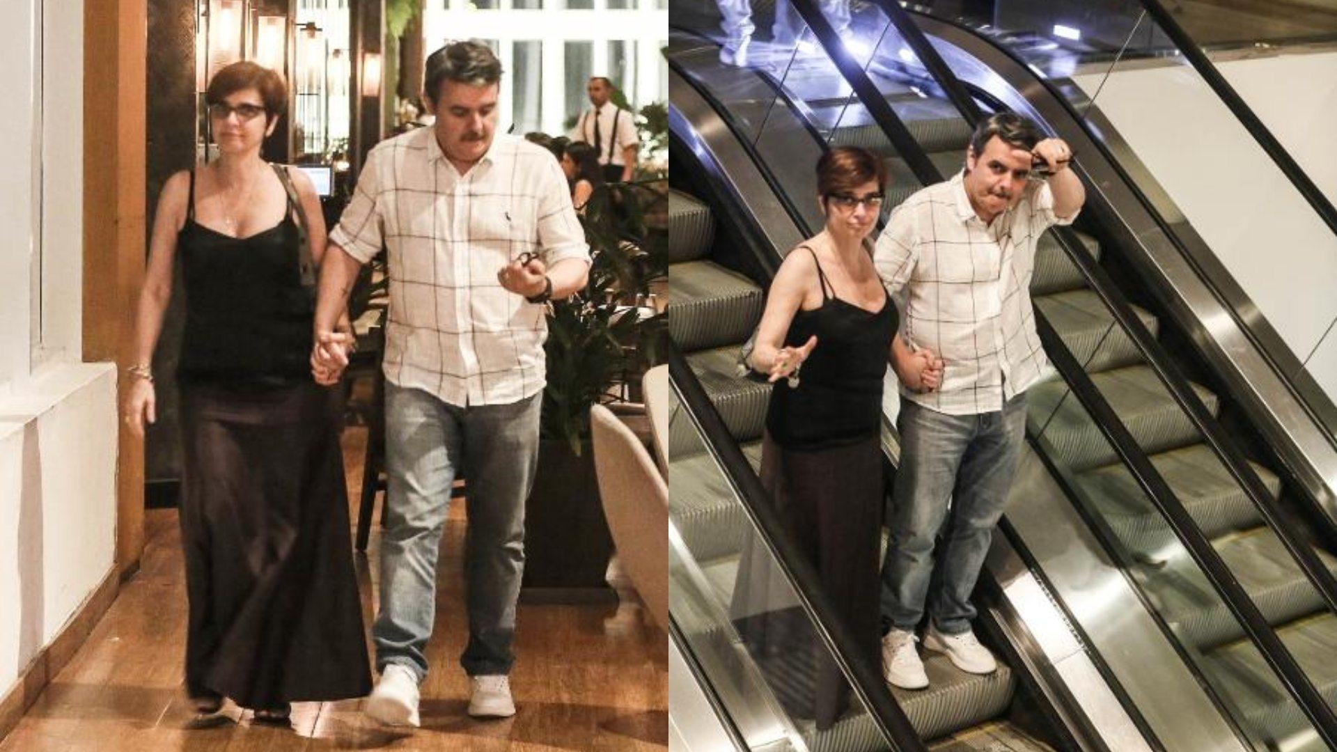 Cassio Gabus e Lídia Brondi passeiam em shopping