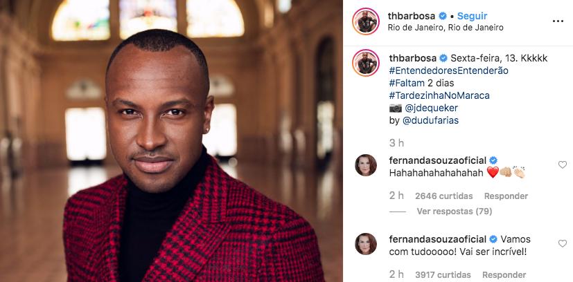 Fernanda Souza comenta foto de Thiaguinho