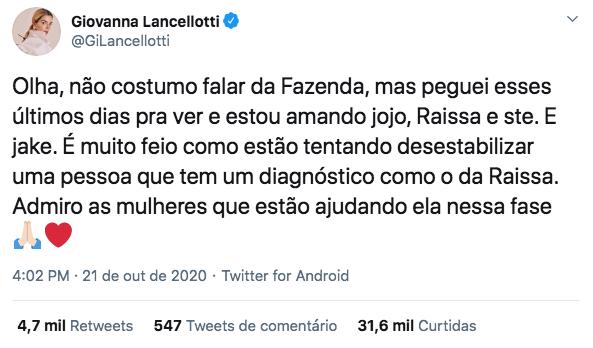 Comentário de Giovanna Lancellotti sobre Raissa Barbosa