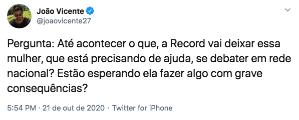 Comentário de João Vicente sobre Raissa Barbosa