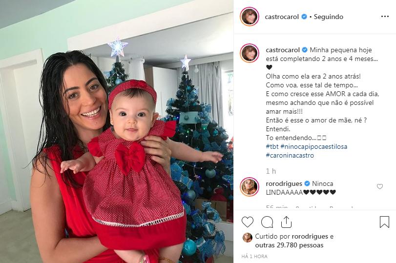 Carol Castro exibe clique de filha Nina e celebra 2 anos e 4 meses da pequena