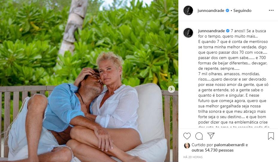 """Junno Andrade e Xuxa completam 7 anos juntos e cantor declara: """"Quero muito mais"""""""
