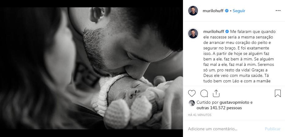 Murilo Huff faz declaração para filho recém-nascido, Leo