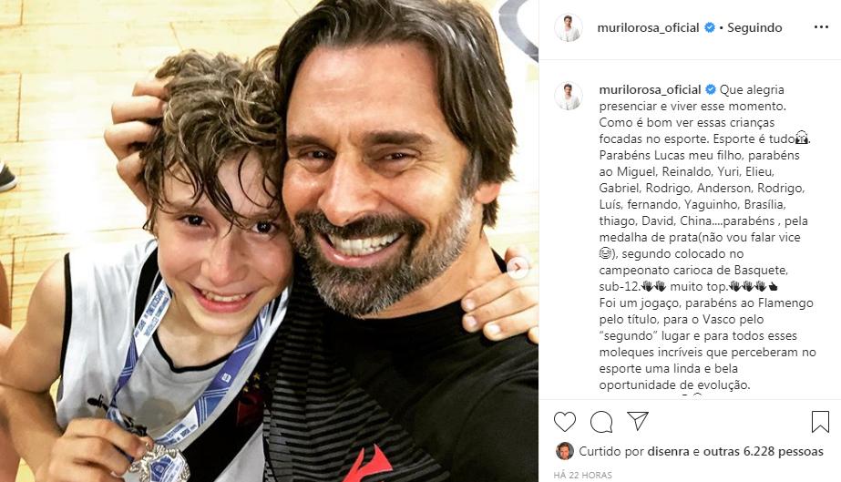 """Pai coruja! Murilo Rosa parabeniza filho por conquista no basquete e anuncia: """"Esporte é tudo"""""""
