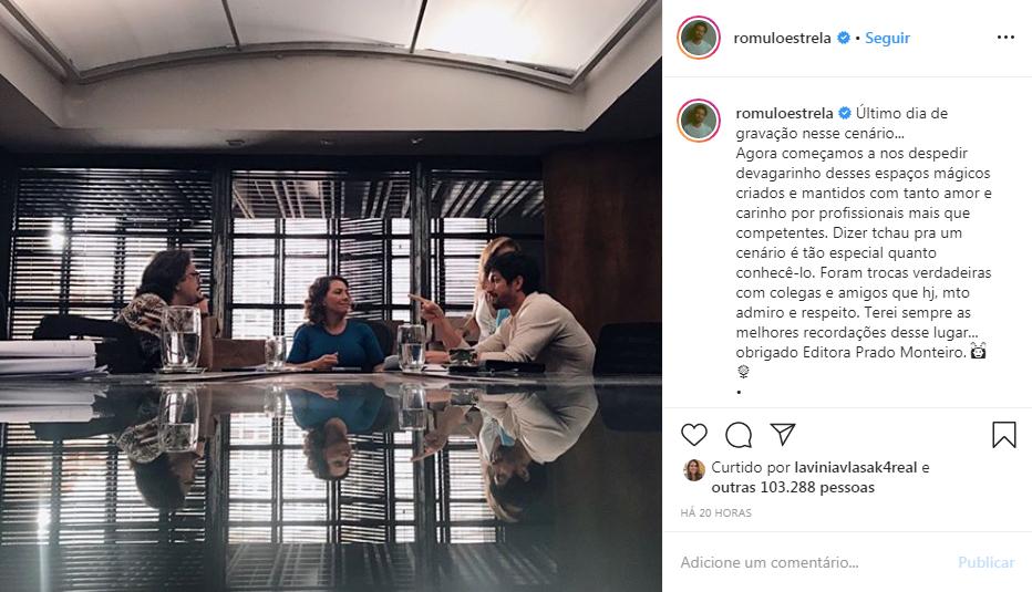 Romulo Estrela compartilha foto ao lado de companheiros de trabalho