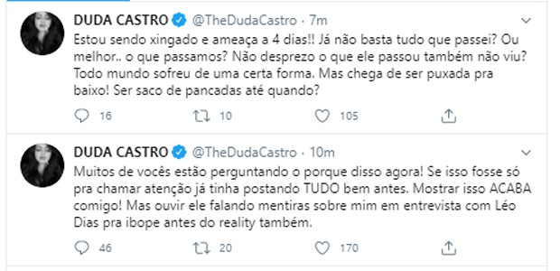 Duda Castro expõe conversas com Biel