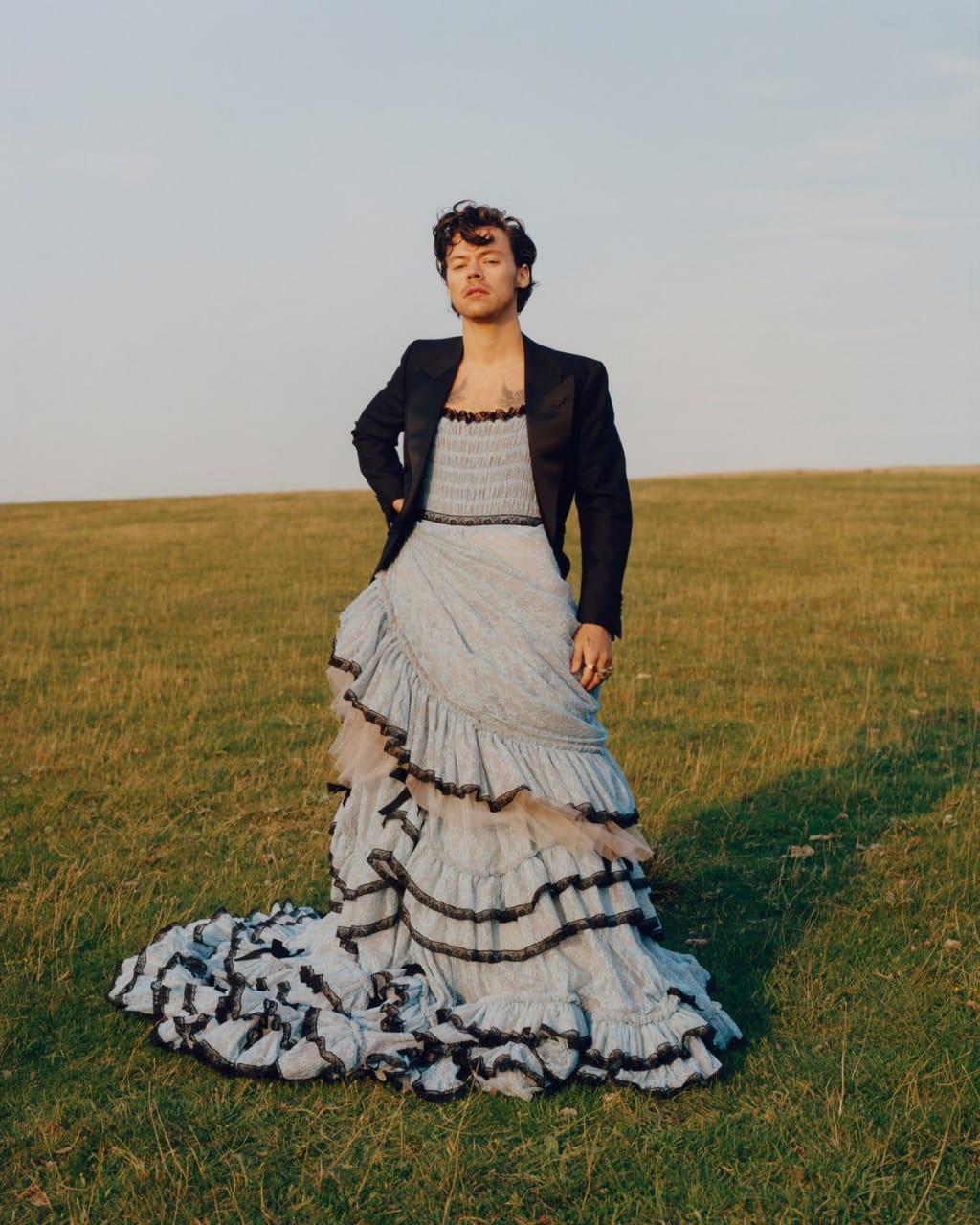 Harry Styles usa vestido em sessão de fotos
