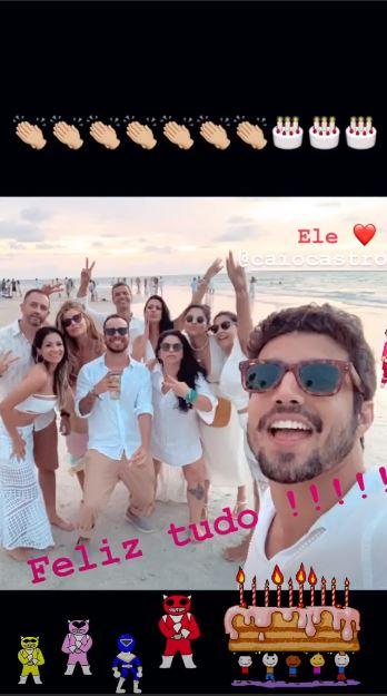 Postagem de Grazi Massafera para o aniversário de Caio Castro