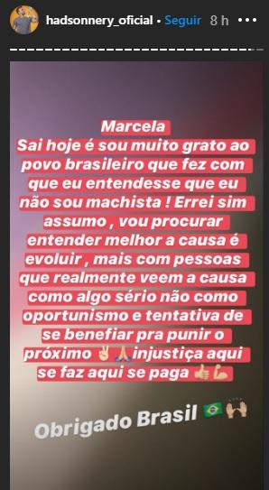Hadson comemora eliminação de Marcela