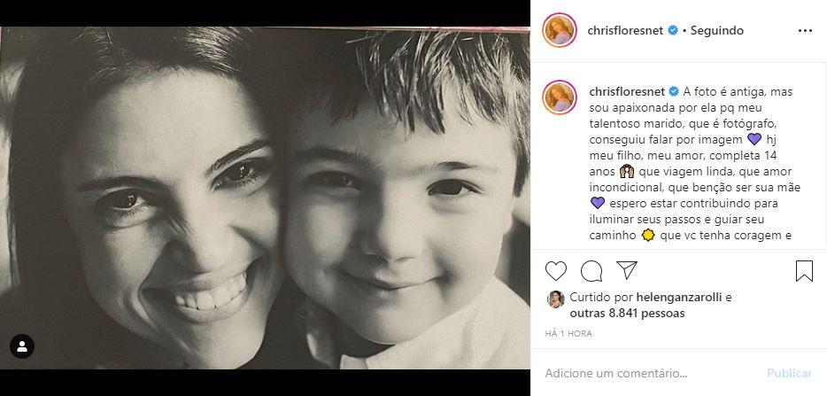 Chris Flores celebrou aniversário do filho