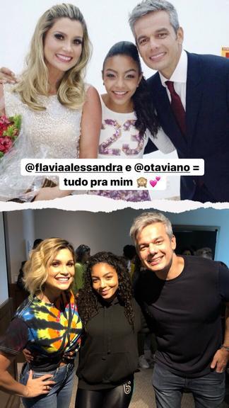 Any Gabrielly encontra Flávia Alessandra e Otaviano Costa