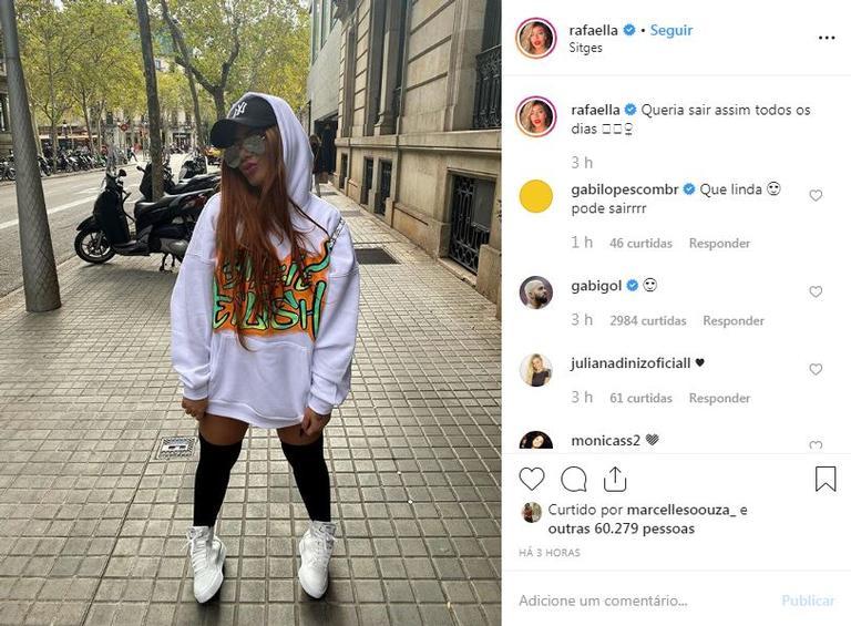 Comentário de Gabigol na foto de Rafaella