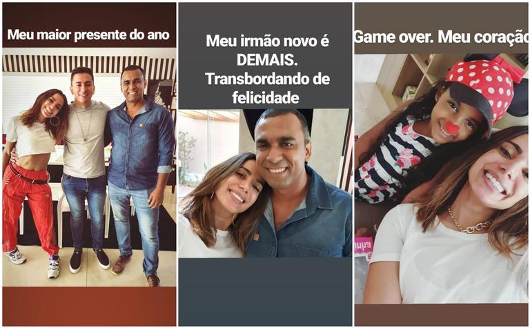 Stories de Anitta ao lado do novo irmão, Felipe Terra