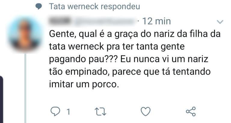 Comentário do usuário sobre a filha de Tata Werneck