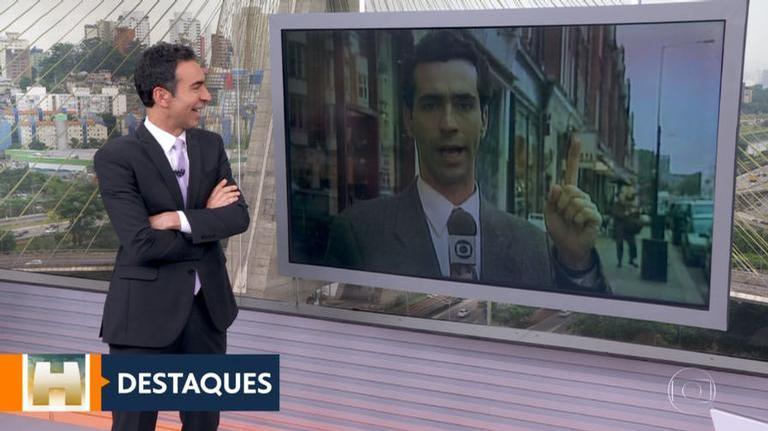 César Tralli é surpreendido com foto antiga durante SP1