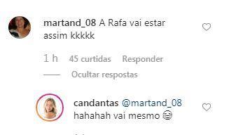 Comentário de seguidora e resposta de Carol Dantas
