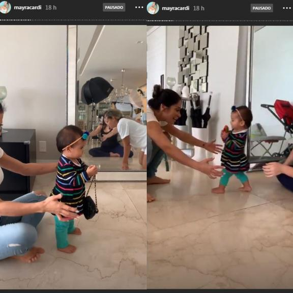 Mayra Cardi compartilha vídeo da filha Sophia andando