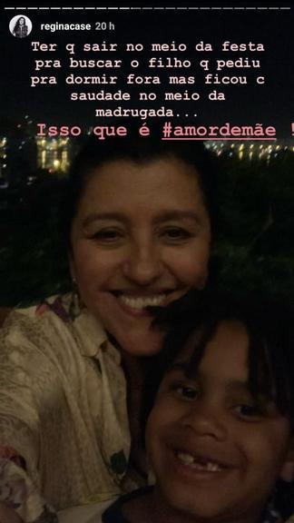 Regina Casé compartilha imagem com filho Roque