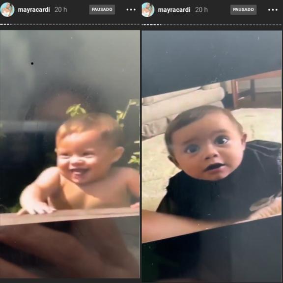 Mayra Cardi se impressiona com semelhança entre os filhos