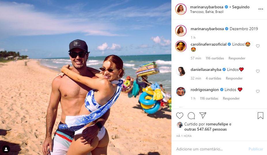 Marina Ruy Barbosa e Alexandre Negrão curtem último dia do ano juntinhos