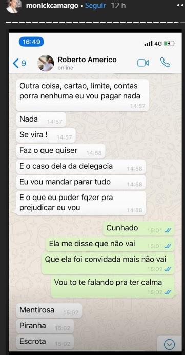 Roberto ameaça Monick Camargo