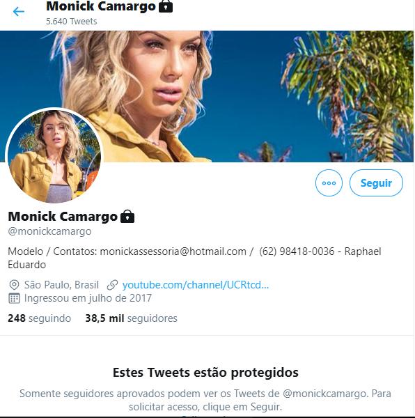 Monick Camargo desativa redes sociais após ameaças de ex-noivo