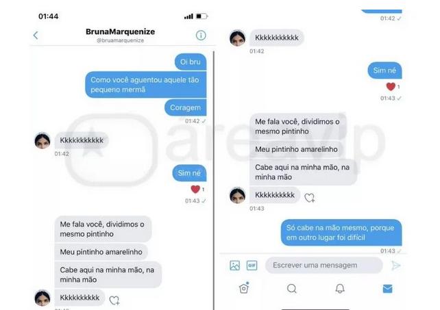 Montagem de conversa entre Flayslane e Bruna Marquezine