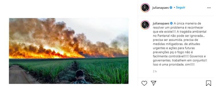 Juliana Paes faz apelo sobre queimadas no Pantanal