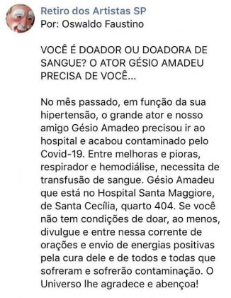 Gésio Amadeu está com coronavírus
