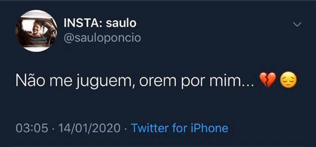 Saulo se pronunciou no Twitter sobre traição