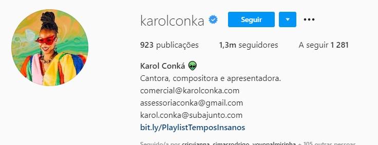 Perfil de Karol Conká no Instagram