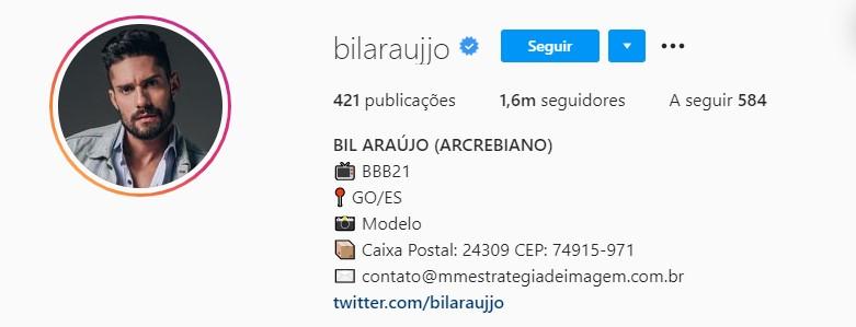 Perfil de Bil no Instagram