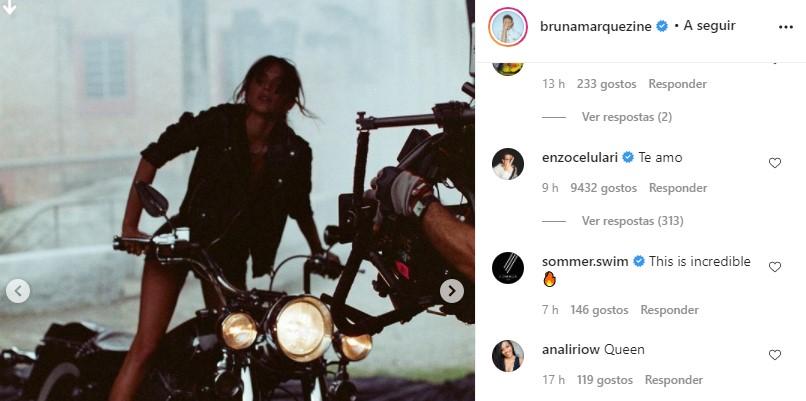 Comentário de Enzo Celulari no post de Bruna Marquezine