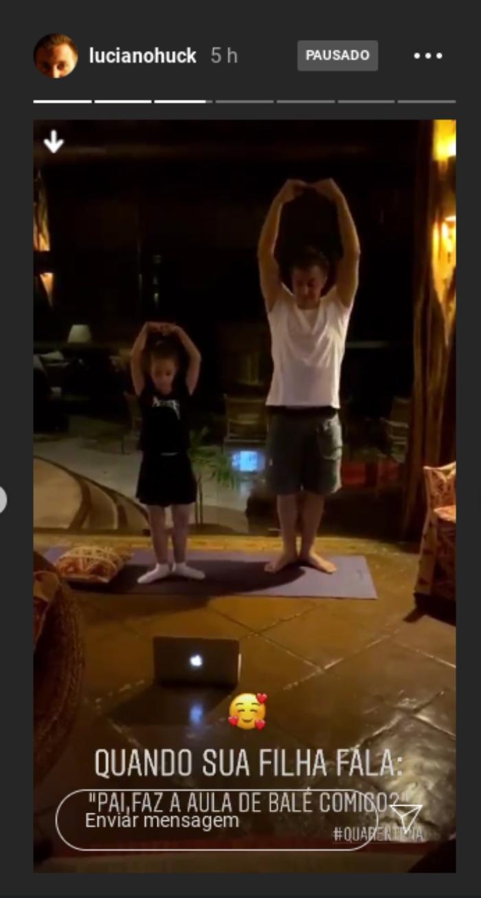 Luciano Huck surge dançando balé com a filha de 7 anos