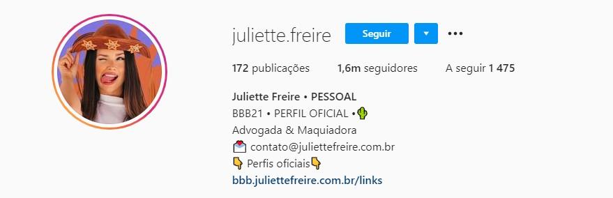 Perfil de Juliette no Instagram