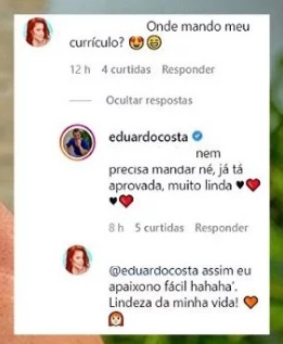 Eduardo Costa responde fã
