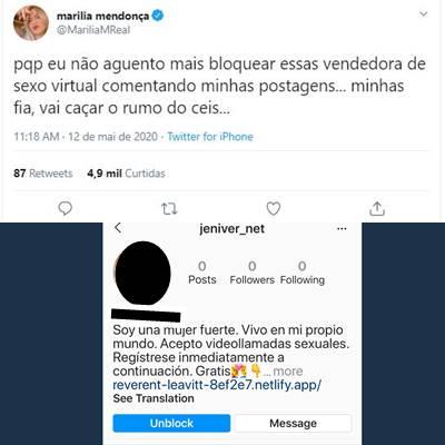 Postagem de Marília Mendonça