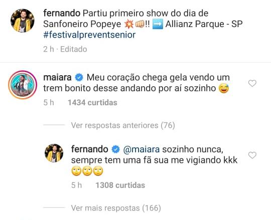 Maiara brinca em comentário para namorado, Fernando Zor