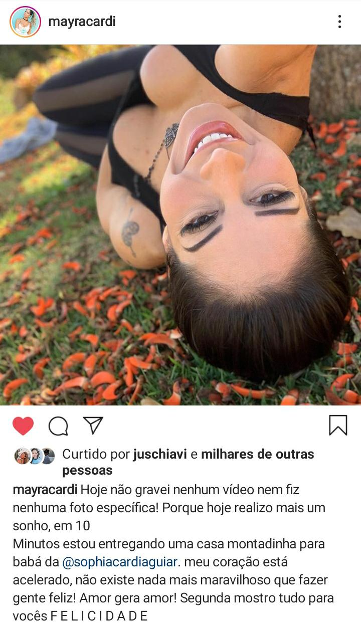 Mayra Cardi monta casa para babá de sua filha