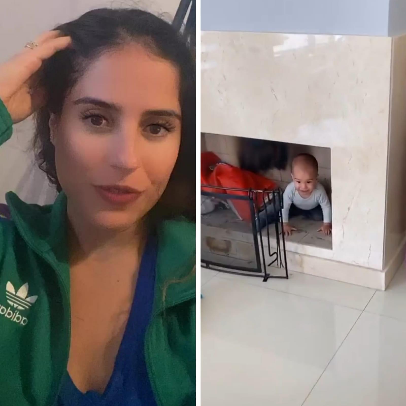 Camilla Camargo encontra o filho dentro da lareira