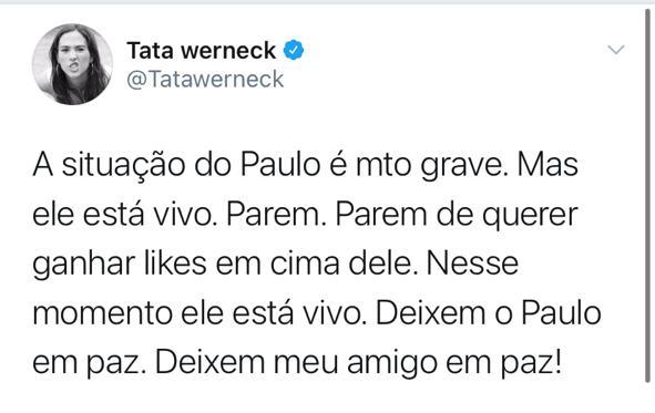 Tweet de Tata Werneck sobre Paulo Gustavo